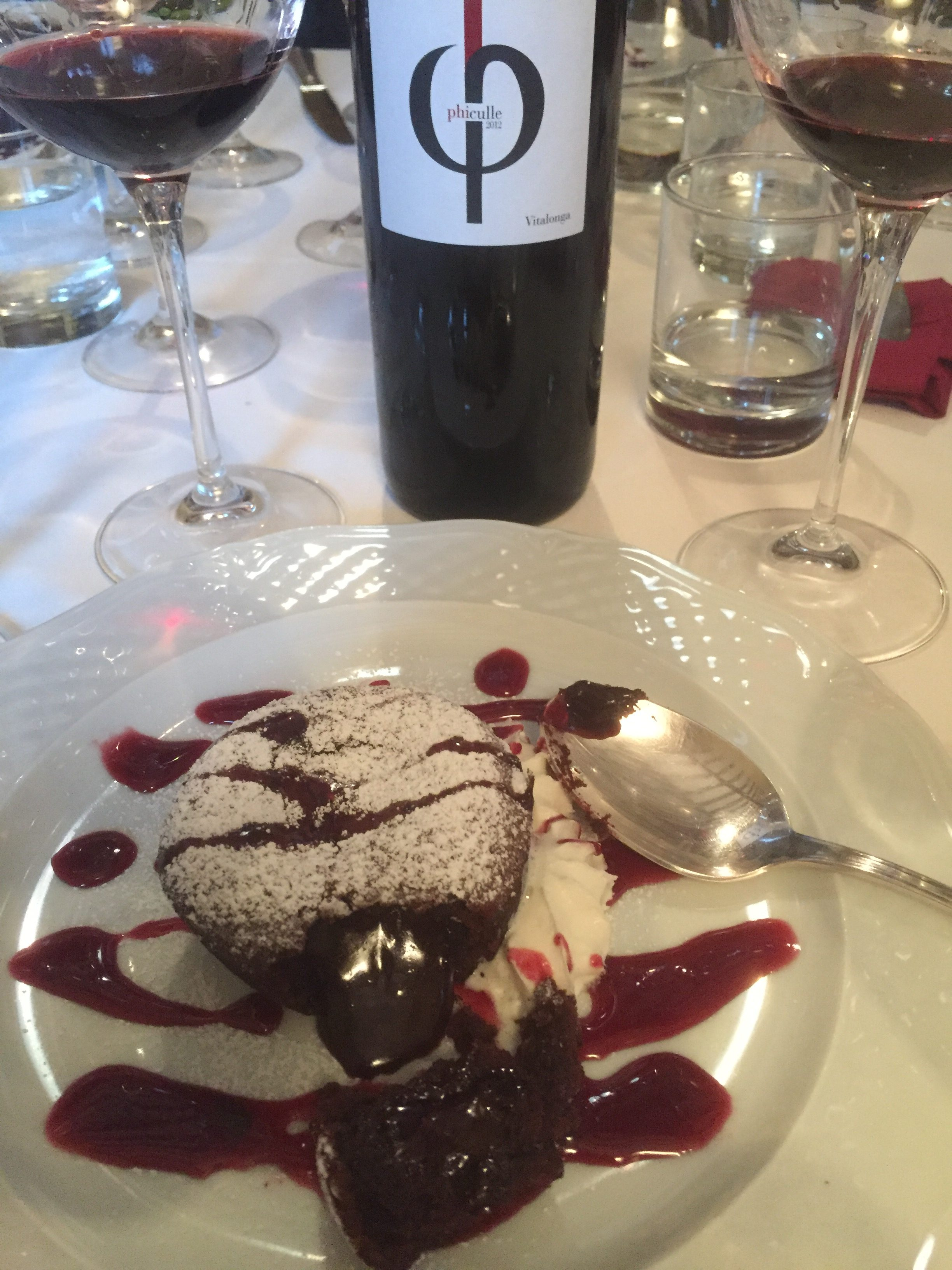 90+ point Cab Franc infused into Lava Cake
